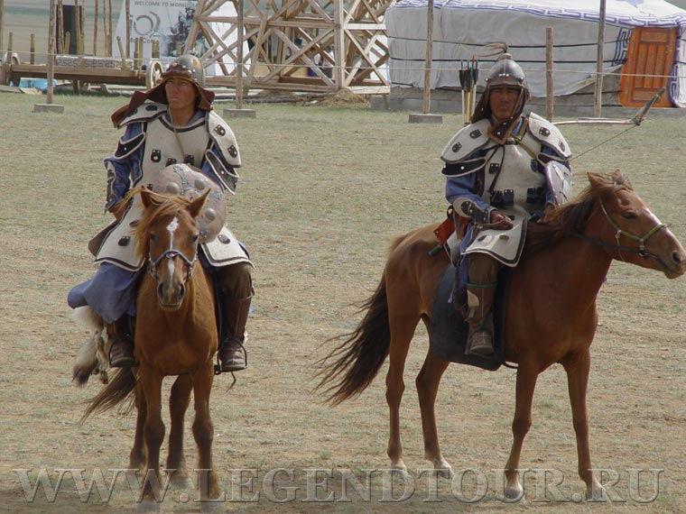 Chinggis Khaans cavalry riders show.
